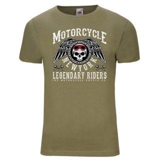 T-shirt Motorcycle New York(olive verte)