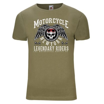 T-shirt Motorcycle New York(olive verte)