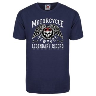 T-shirt Motorcycle New York (bleu marine)